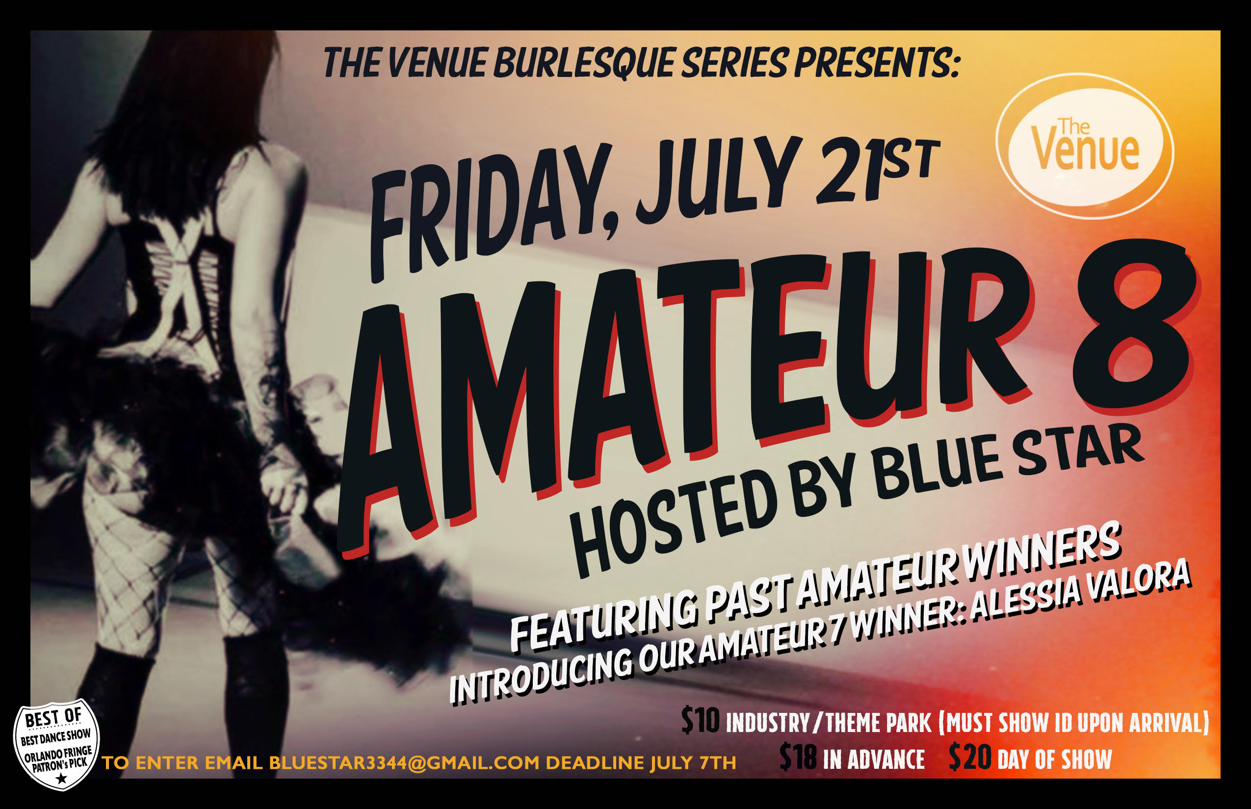 The Venue Burlesque Series Presents   Amateur 8 Hosted by BlueStar Tickets  | The Venue | Orlando, FL | Fri, Jul 21, 2017 at 9pm | Orlando Weekly